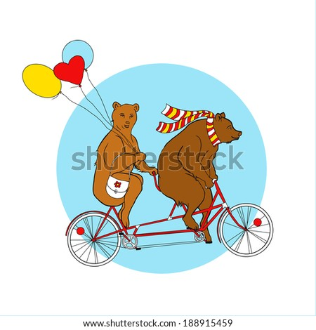 Couple on a tandem bicycle. Advertising for bike rental. Bears ride a bike. Couple with multi-colored balloons on a walk. She-bear with a friend on a date. Outdoor recreation. Healthy lifestyle.