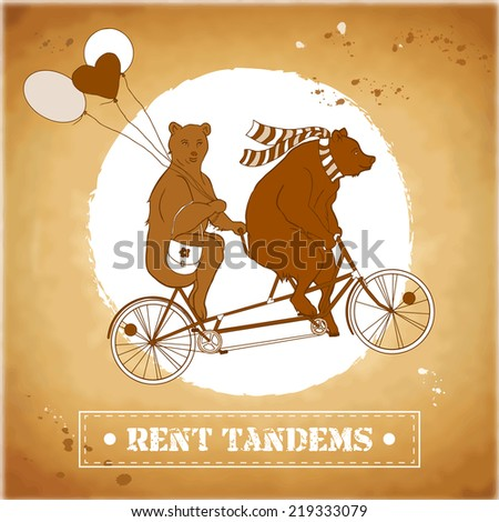 Couple on a tandem bicycle. Advertising for bike rental in retro style. Bears ride a bike. Couple with balloons on a walk. She-bear with a friend on a date. Outdoor recreation. Healthy lifestyle.