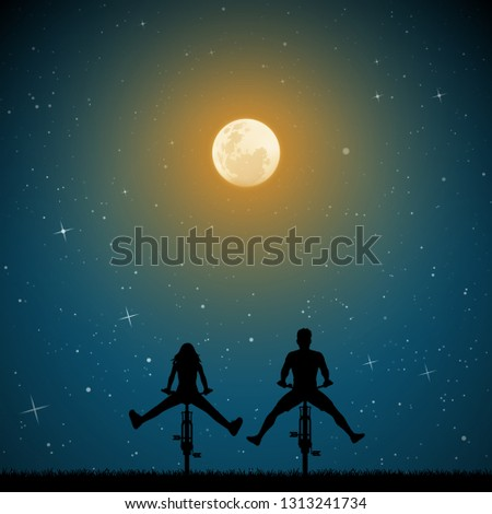 couple on bikes on moonlit