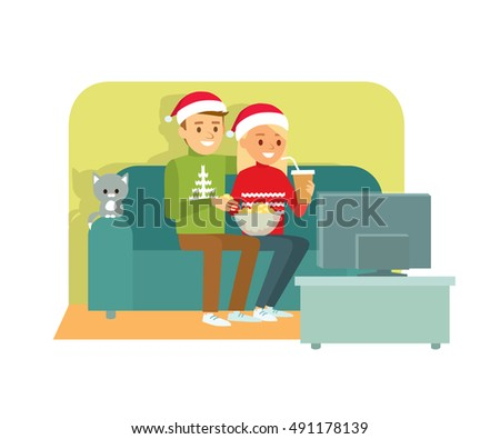 couple on couch in christmas