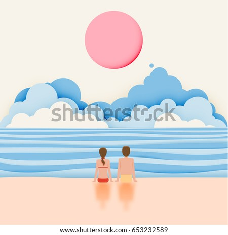 Couple on the beach with paper art style and pastel color scheme vector illustration