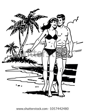 couple on tropical beach  ...