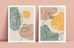 Couple one line drawing design. Vector contemporary poster design.
