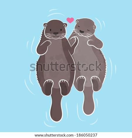 couple otter  vector