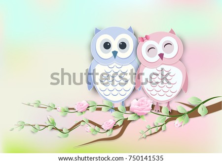 Couple Owl and roses ivy paper art, paper cut style illustration