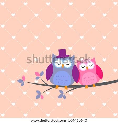 Couple owls in love.Vector wedding card
