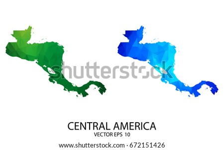 Couple Polygon Set Map - High Detailed Green and Blue LowPoly Map of Central America. Vector illustration eps10.