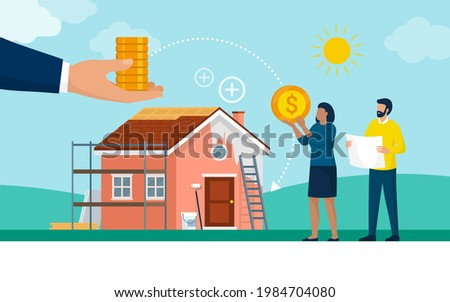Couple receiving a home improvement grant or loan and doing a home renovation