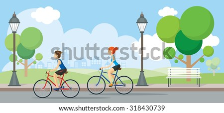 Couple Riding Bicycles In Public Park, Illustration, Flat Design,