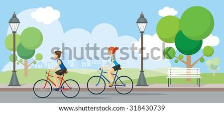 Couple Riding Bicycles In Public Park, Illustration, Flat Design,