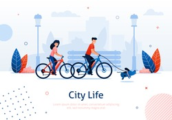 Couple Riding Bicycles with Running Dog Banner Vector Illustration. Going around Park with Pet. City Life. Healthy Active Lifestyle. Spending Free Time Together with Family in Park.