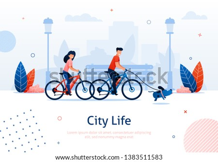 Couple Riding Bicycles with Running Dog Banner Vector Illustration. Going around Park with Pet. City Life. Healthy Active Lifestyle. Spending Free Time Together with Family in Park. ストックフォト ©
