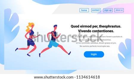 couple running cartoon character sport man woman activities isolated healthy lifestyle concept full length horizontal copy space flat vector illustration - Shutterstock ID 1134614618