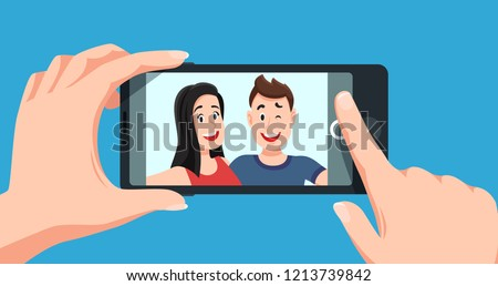 Couple selfie. Romantic self portrait, young friends taking selfie photo at smartphone. Smiling people using tablet, mobile phone photography cartoon vector illustration