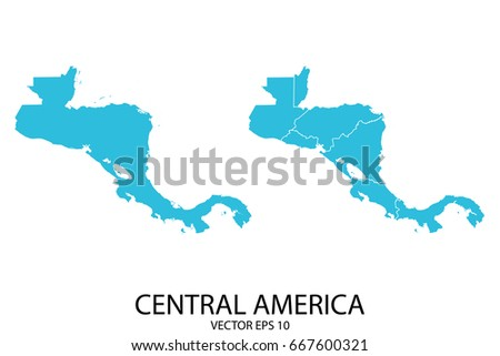 Couple Set Map - Blue Map of Central America. Vector eps 10.