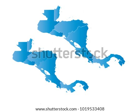 Couple Set Map,gradient blue Map of Central America,Vector EPS10