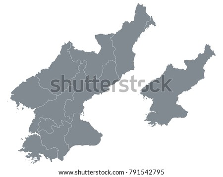 Couple Set Map,Gray Map of North Korea ,Vector EPS10
