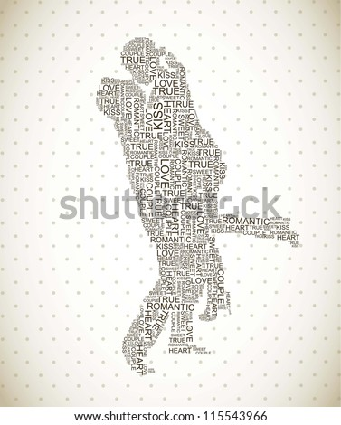 couple shape from letters over vintage background. vector
