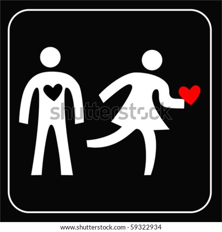 couple silhouette with broken heart on white background VECTOR
