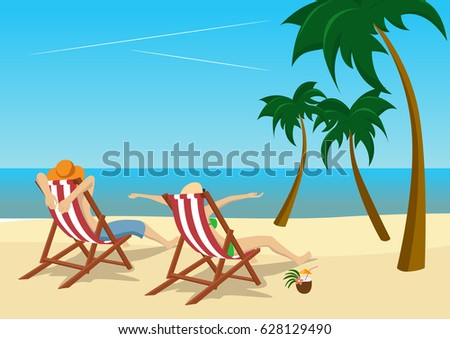couple sitting in deck chairs