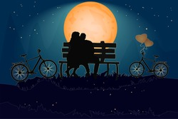 Couple sitting on a bench in love atmosphere. Valentines day card with romantic couple and bike. Happy Lovers. Romantic silhouette of loving couple in night. Be my Valentine. Stock vector illustration
