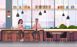 couple sitting on chair at bar counter with laptop coffee break concept business man woman drinking cappuccino during meeting modern cafe interior flat full length horizontal
