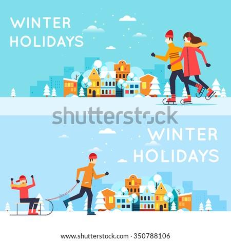 Couple skates, a man sledding child. Winter cityscape, winter fun, winter vacation, winter sports, outdoors. New year. Flat design vector illustration.