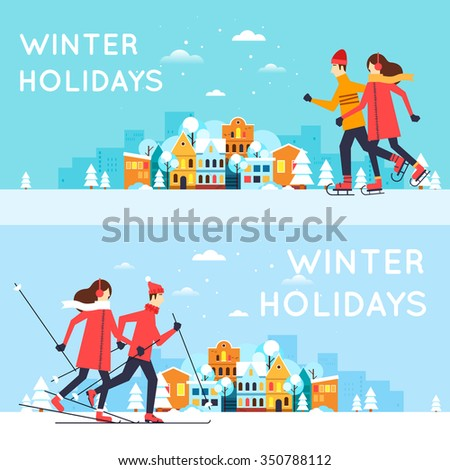 Couple skating and skiing. Winter cityscape, winter fun, winter vacation, winter sports, outdoors. New year. Flat design vector illustration.