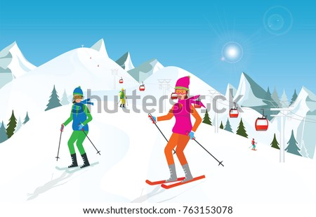 Couple skiing in the mountains against blue sky, Winter sport and recreation,winter holiday vacation and Ski resort concept vector illustration.