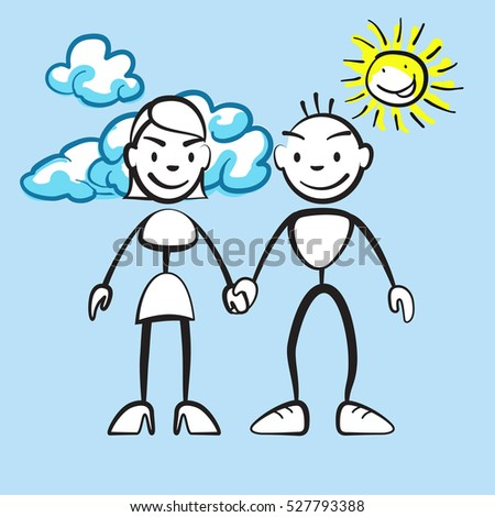 couple smiling with clouds and