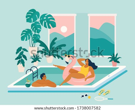 Couple spend summer vacation at swimming pool during quarantine. Stay at home during summer. Summer at home. Party on the screen of a mobile device. Summer season with woman Sunbathing enjoy concept.