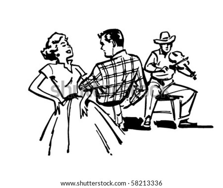 Couple Square Dancing - Retro Clip Art