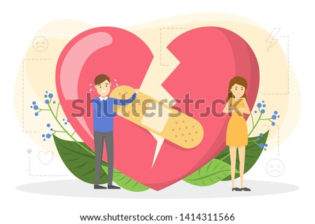 Couple standing at the big red broken heart. Idea of divorce and break up. Angry woman and man trying to fix love. Vector illustration in cartoon style