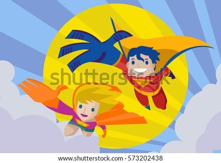 couple superhero hero flying in