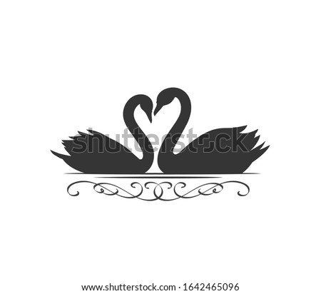 couple swans silhouette icon