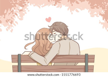 couple sweet kissing siting on