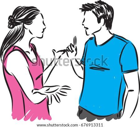 couple talking vector illustration