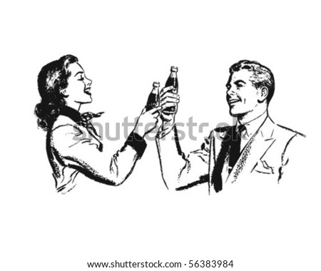 Couple Toasting - Retro Clip Art