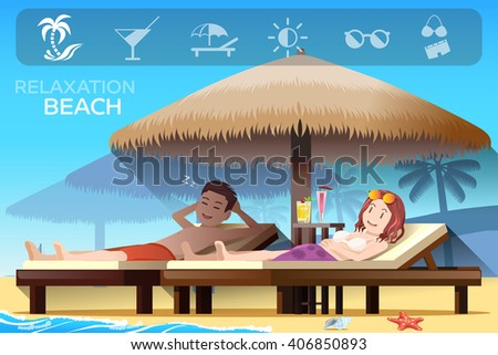 Couple tourism and tropical relax style. Ambiance of the beach.Summer holidays. Illustrated books and websites about travel to the seaside.