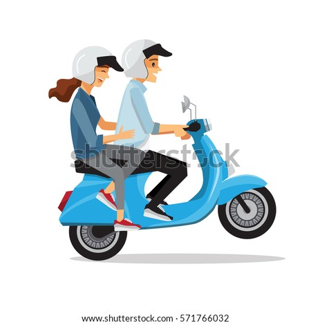 couple travel by scooter