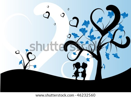 Couple under a tree. Vector.