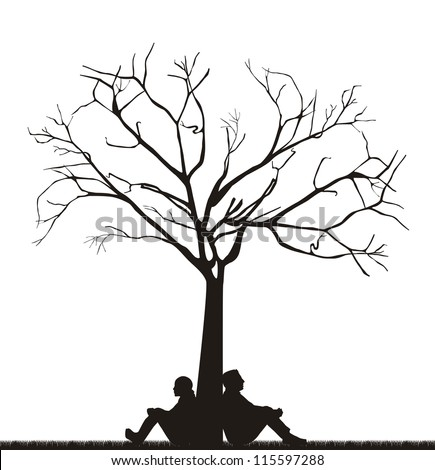 couple under tree over white