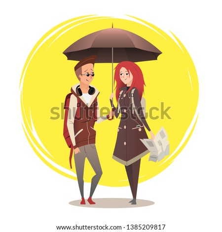 couple under umbrella couple
