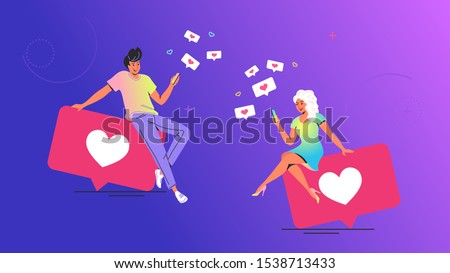 Couple using social media concept vector illustration. Young man and woman sitting on big bubbles with heart symbols using mobile app for texting and pushing like button in social media and dating app Stock photo ©