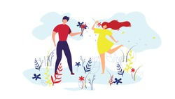 Couple Walking on Lawn Cartoon Flat Vector Illustration. Man and Woman in Love Walking in Park or Garden. Boyfriend Giving Flowers to Girl. Having Romantic Relationships. Spending Time Together.