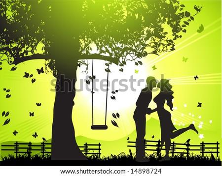 couple walks on nature  sunset