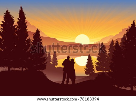 couple watching the sunset in a
