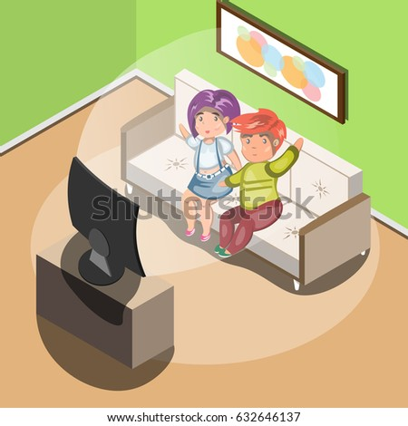 couple watching tv in living
