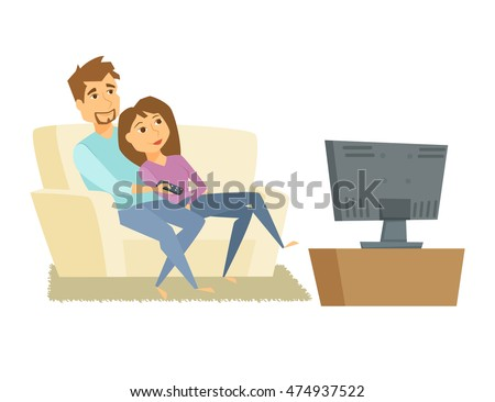 couple watching tv man and