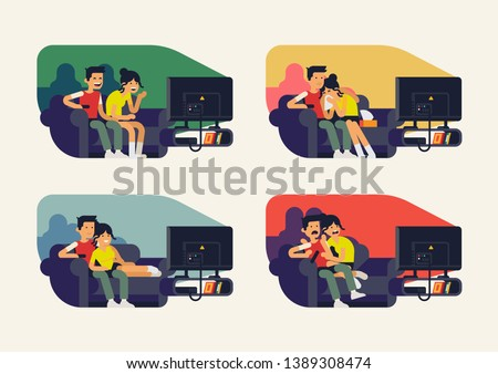 Couple watching TV series. Vector flat character design on couple watching different movies. Different reactions on TV shows and films. Couple watching comedy, family movie, thriller or drama